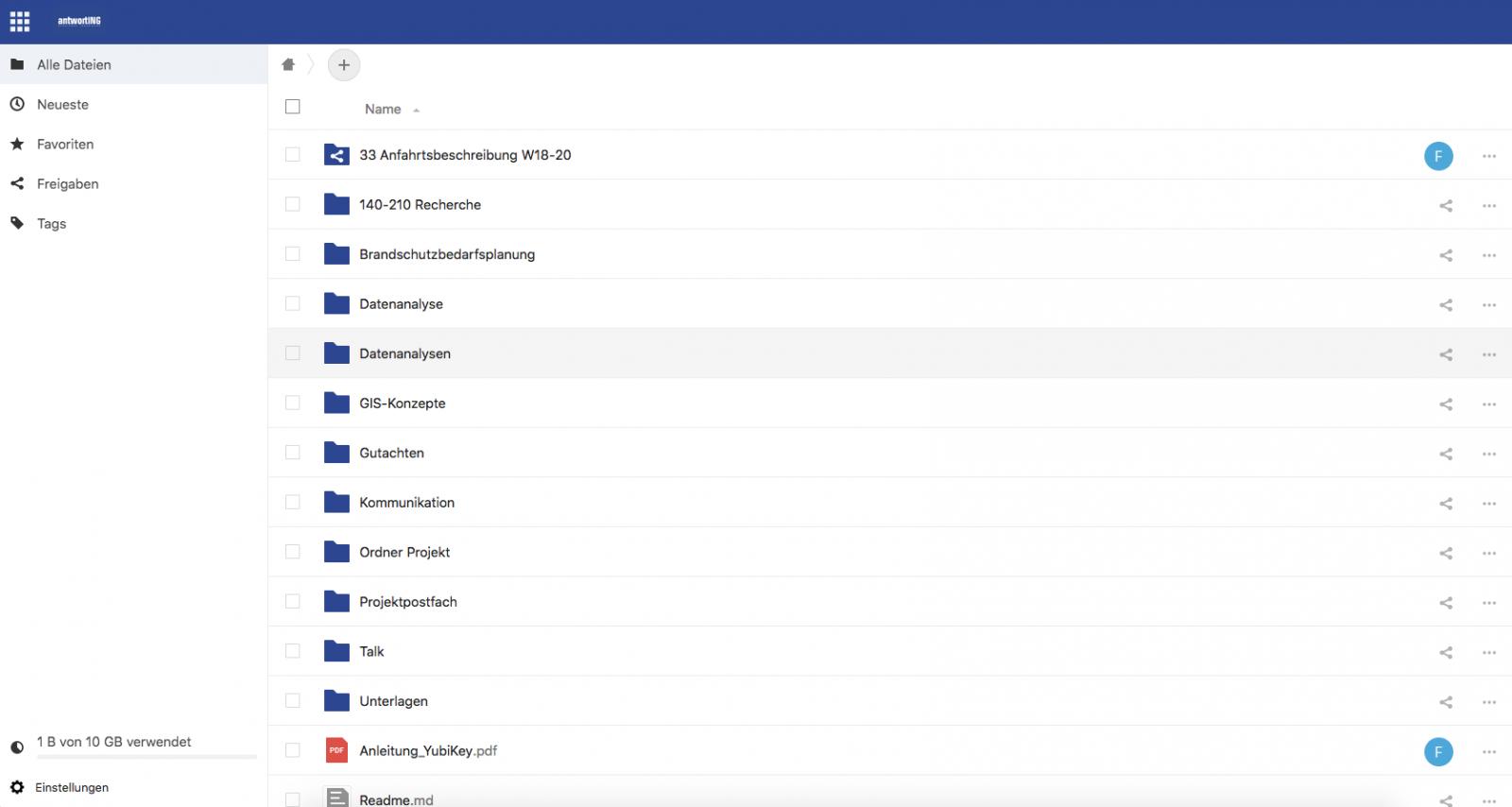 Alle Datein des Kundenportals