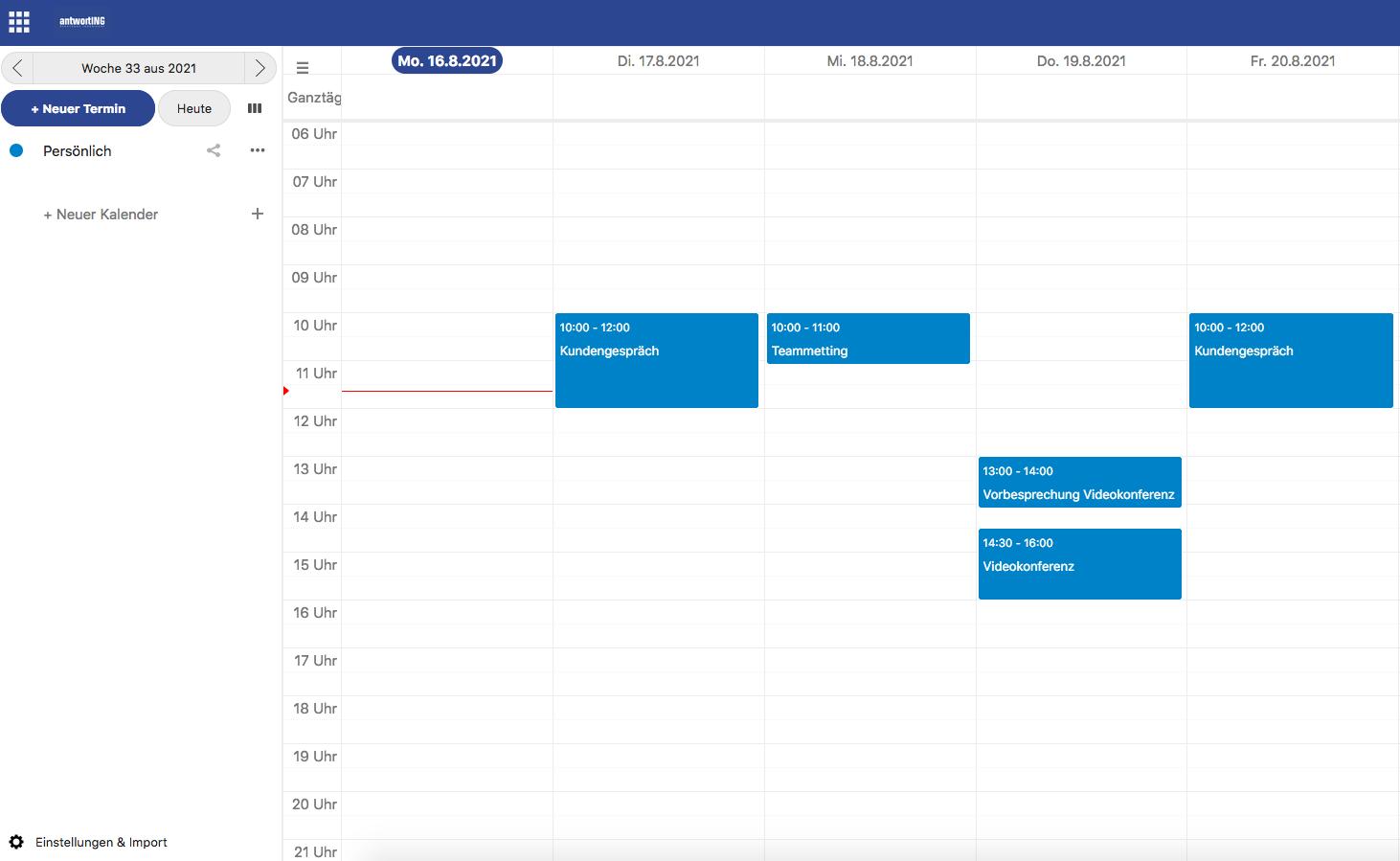 Kalender des Kundenportals